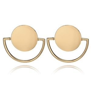 Jewelry - Women's Gold Circle Shield Dangle Stud Earrings